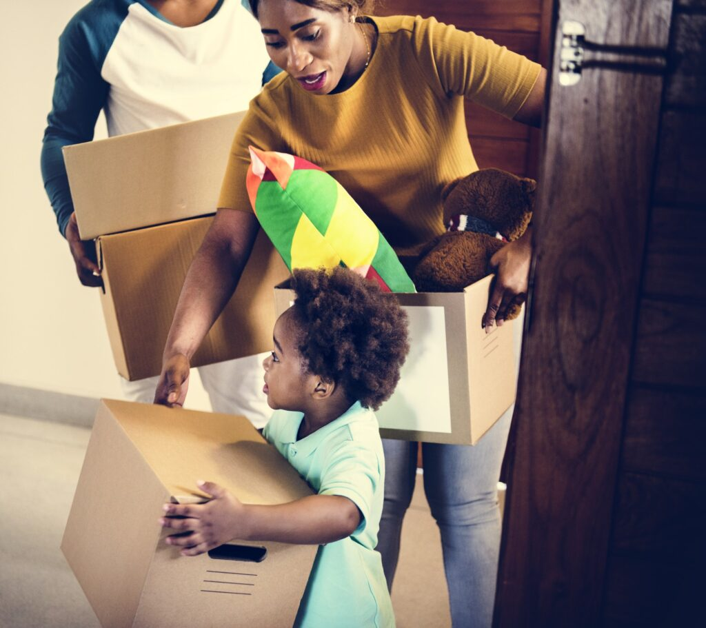 Black family moving in to their new house